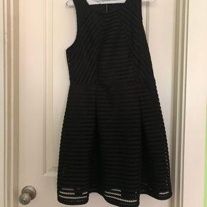 Black Stripe Textured Dress